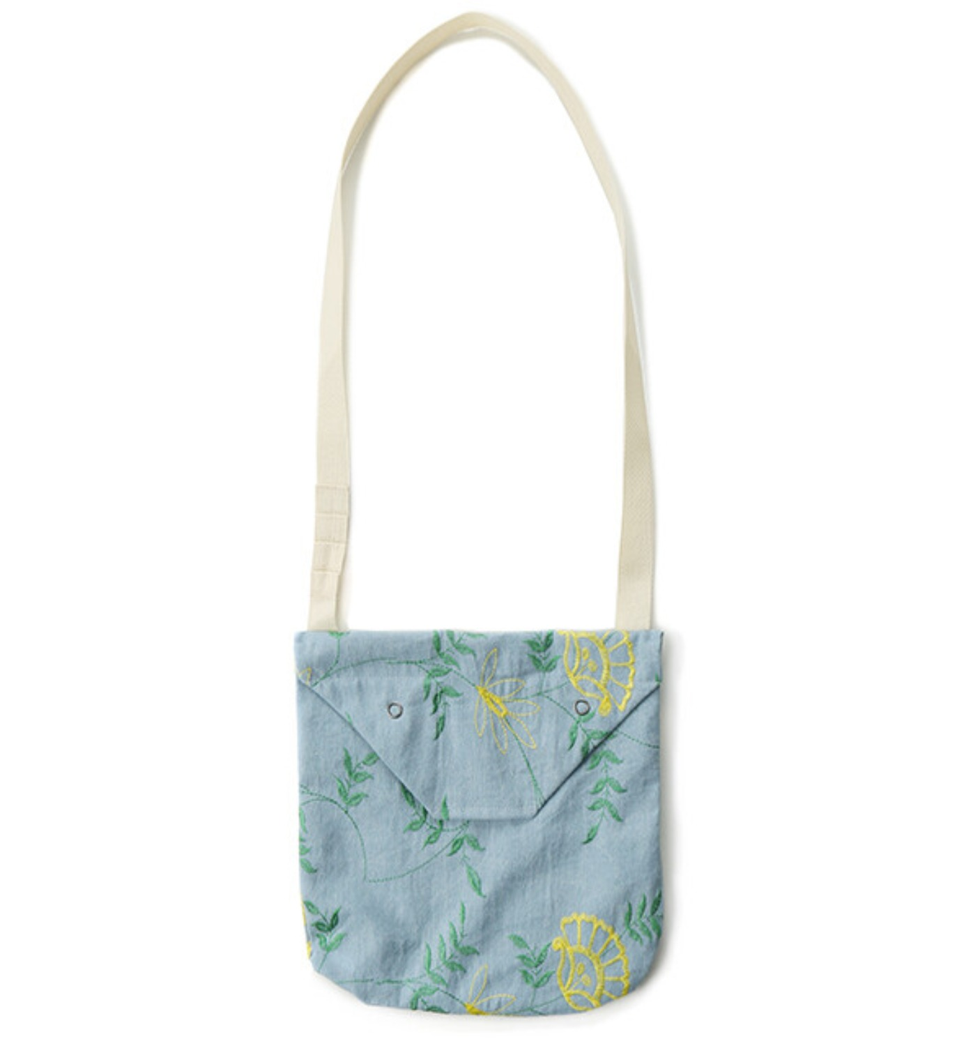 SHOULDER POUCH LT.BLUE DENIM FLORAL EMBROI
