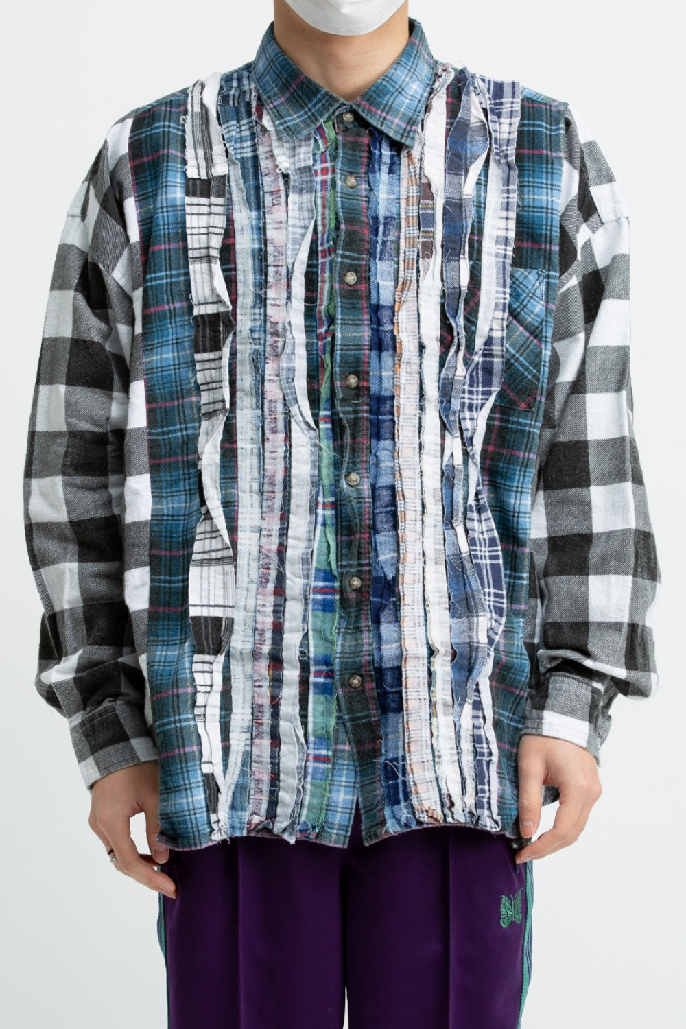 (FRE-8)REBUILD BY NEEDLES FLANNEL SHIRT - RIBBON WIDE SHIRT ASSORTED