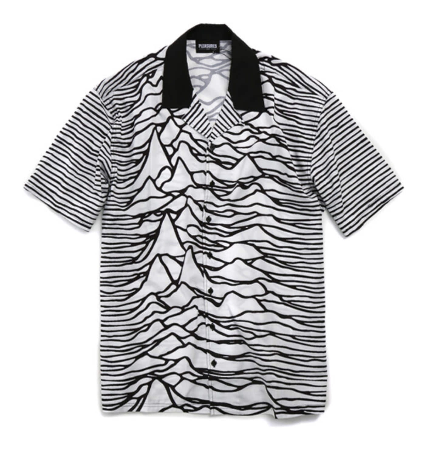 PLEASURES X JOY DIVISION WAVES SHORT SLEEVE BUTTON DOWN WH