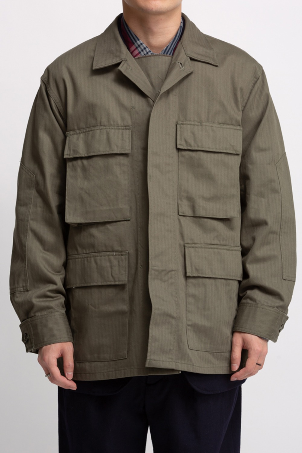 BDU JACKET OLIVE COTTON HERRINGBONE