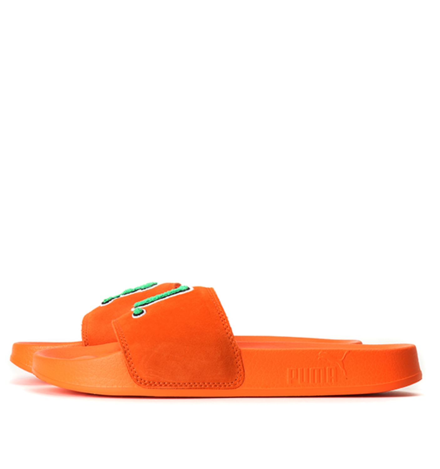 FENTY UNISEX SUEDE SLIDE SANDALS Scarlet Ibis-Bright Green