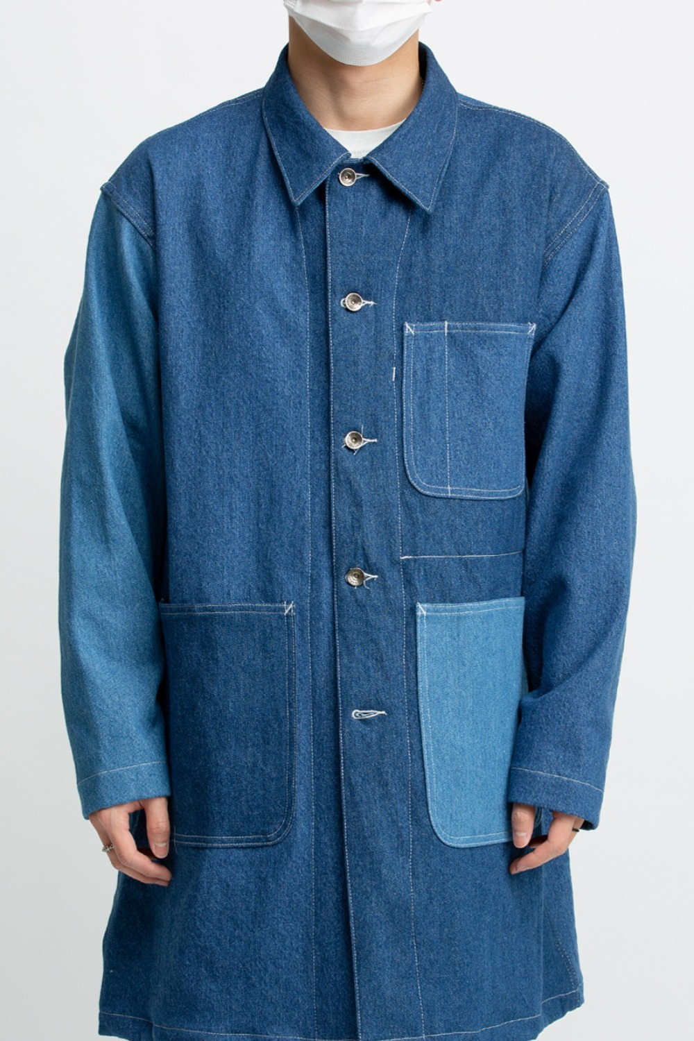 SHOP COAT COMBO INDIGO LIGHT WASH 12oz DENIM