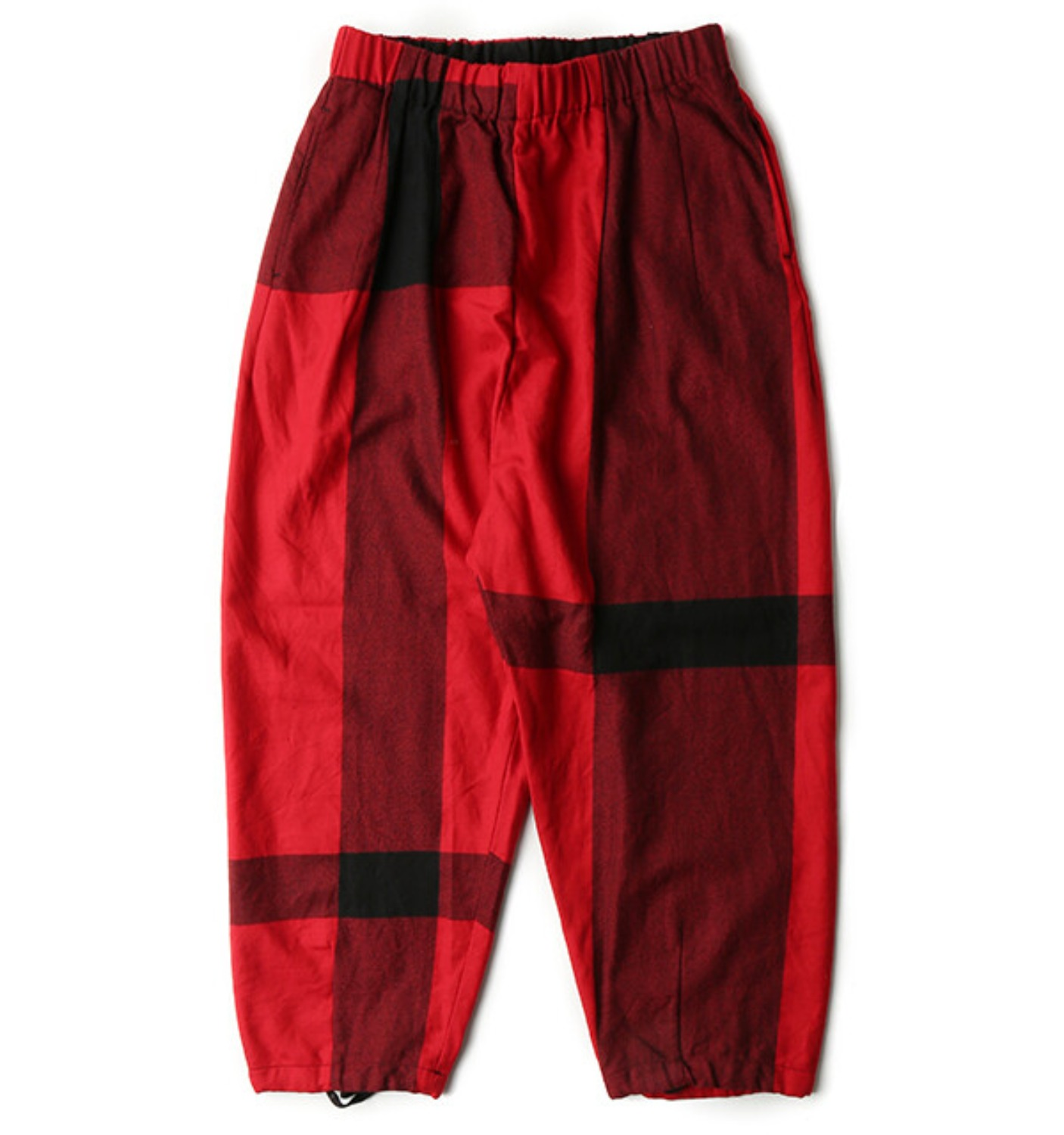 BALLOON PANT RED/BLACK BIG PLAID WORSTED WOOL