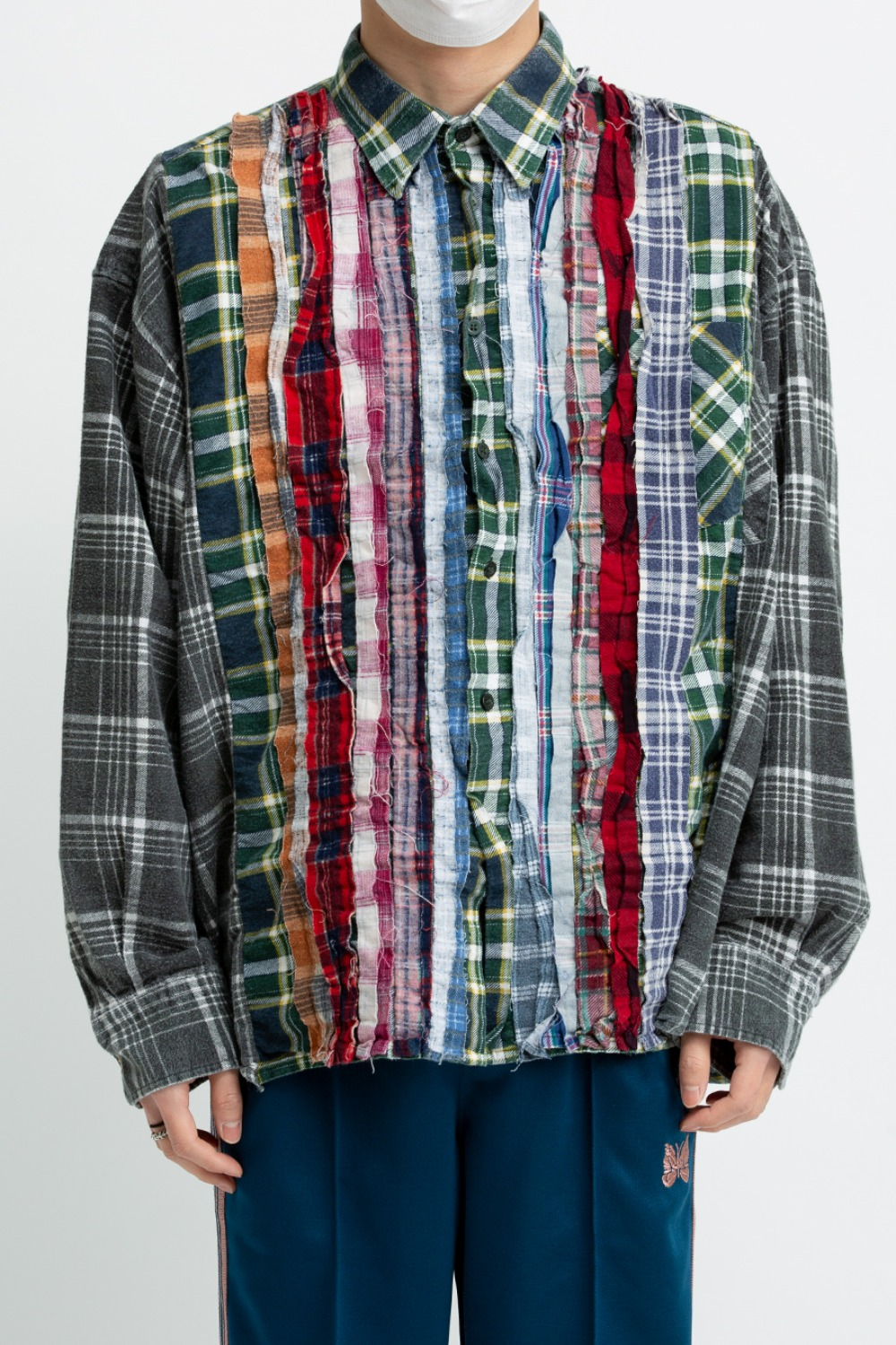 (FRE-9)REBUILD BY NEEDLES FLANNEL SHIRT - RIBBON WIDE SHIRT ASSORTED