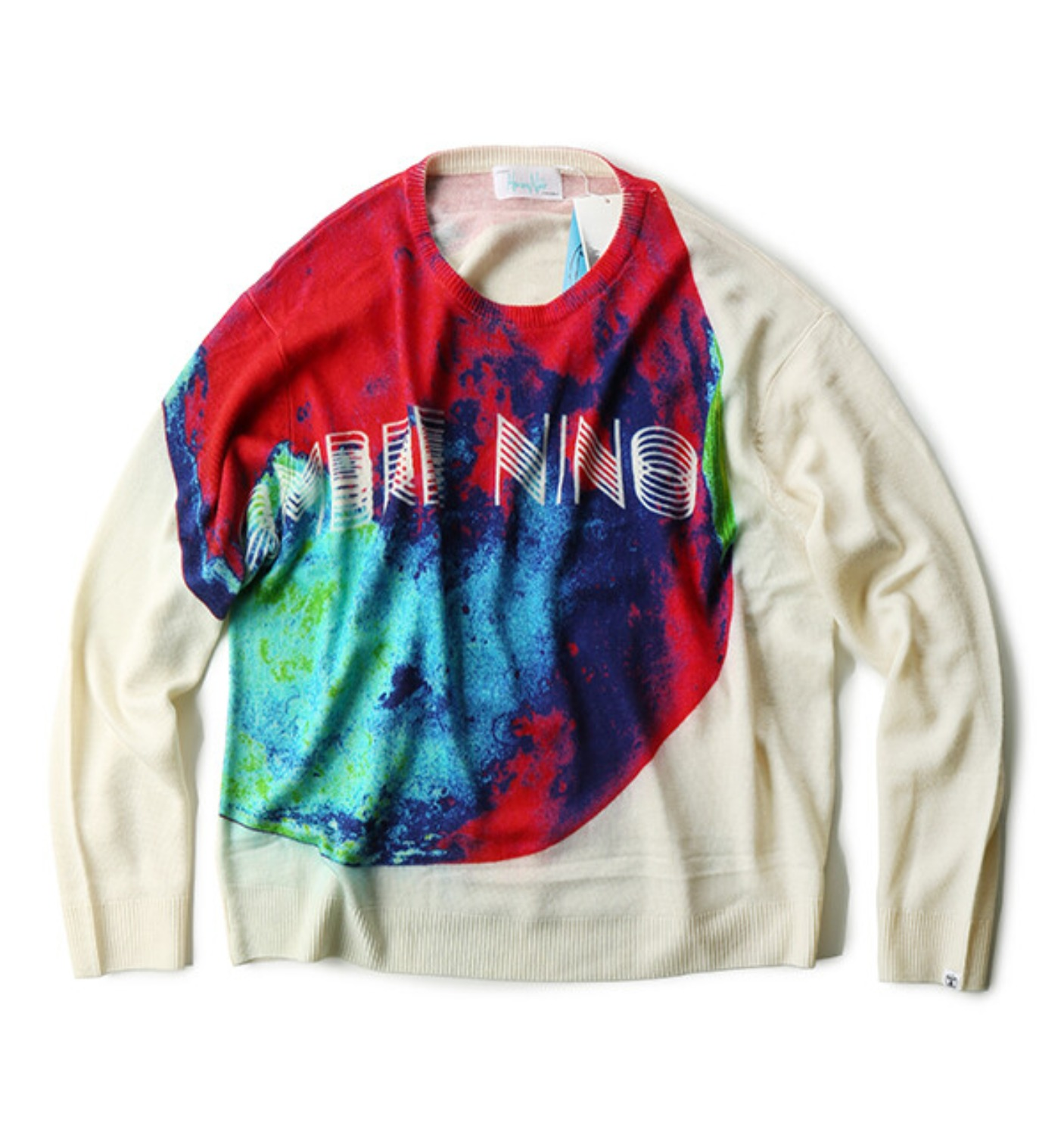 PRINT CREW NECK SWEATER