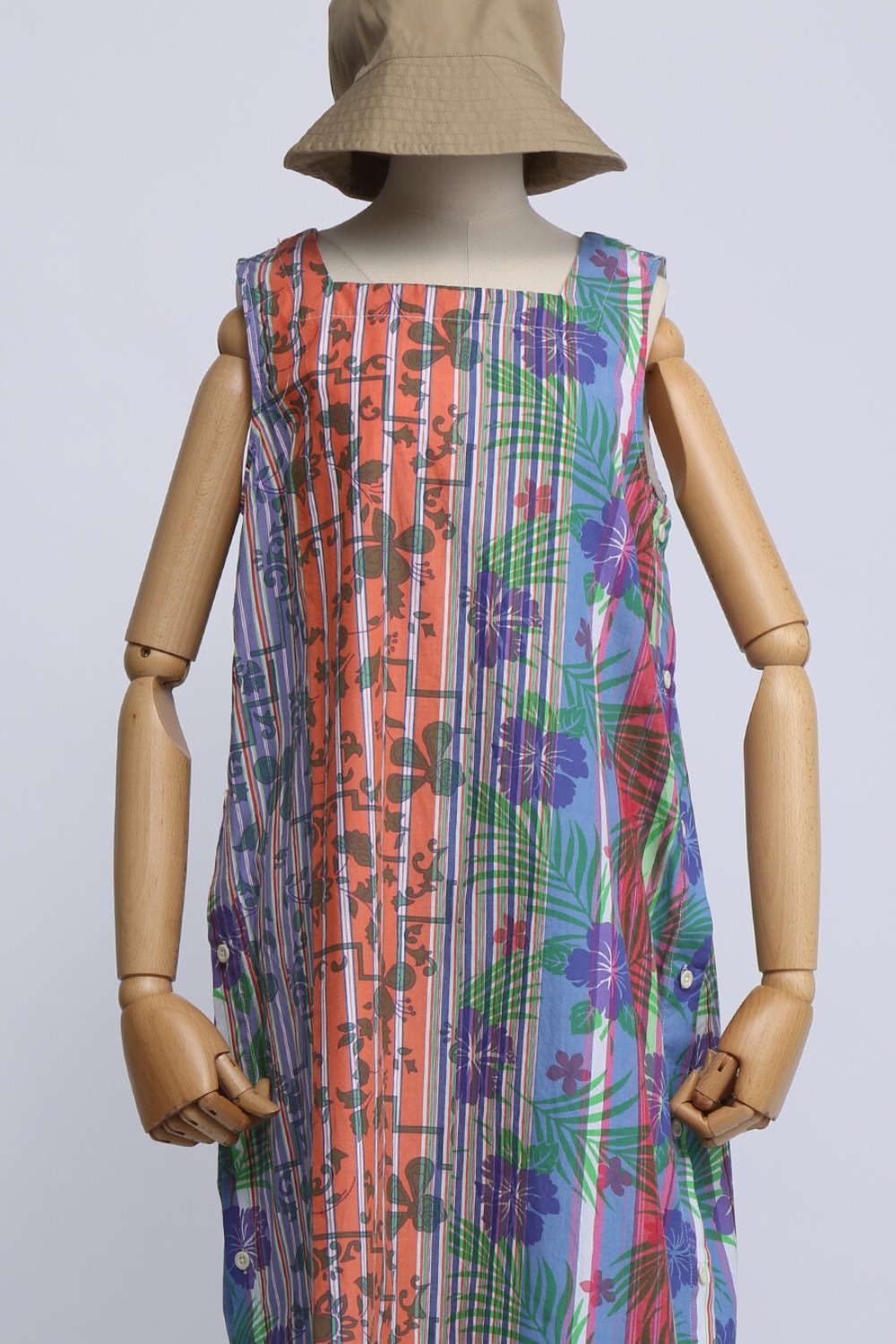 FWK SQUARE NECK DRESS MULTI COLOR FLORAL PRINTED ON STRIPE