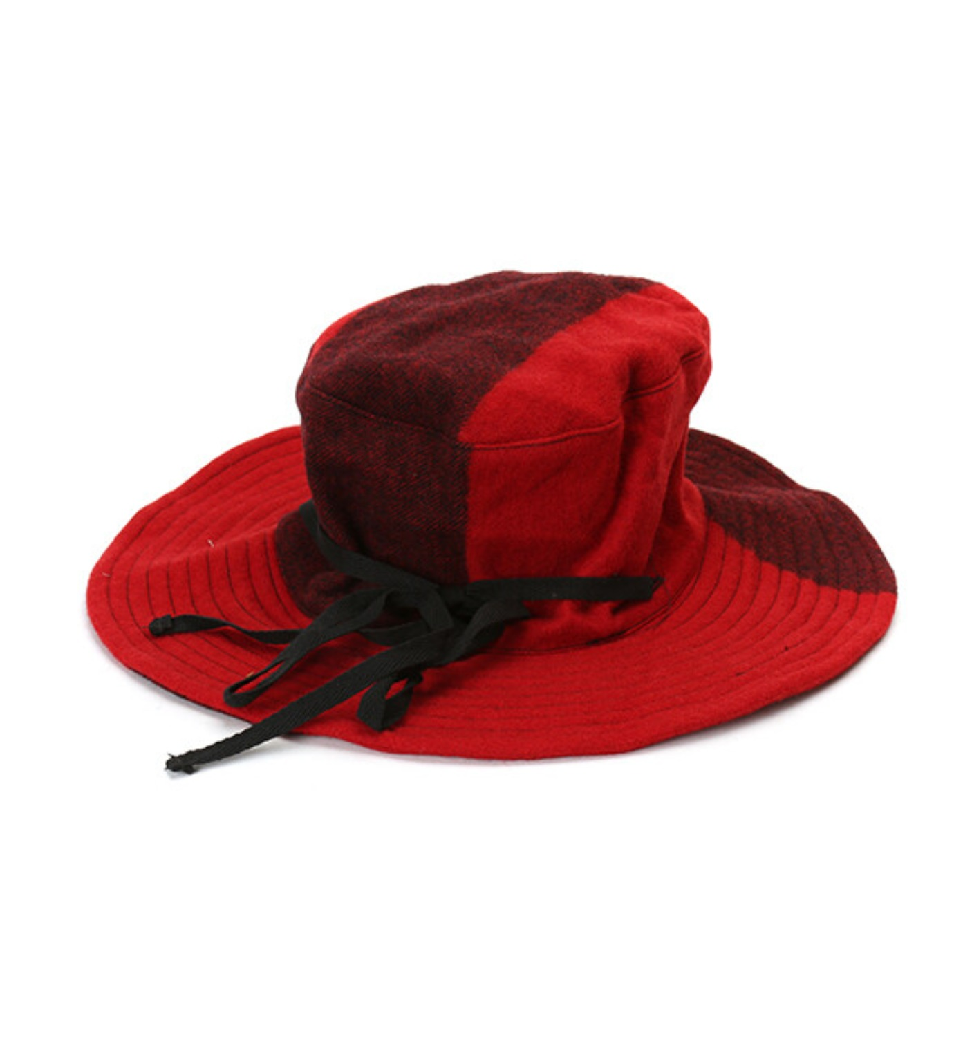 CRUSHER HAT RED BIG PLAID WOOL MELTON(F8H0556)