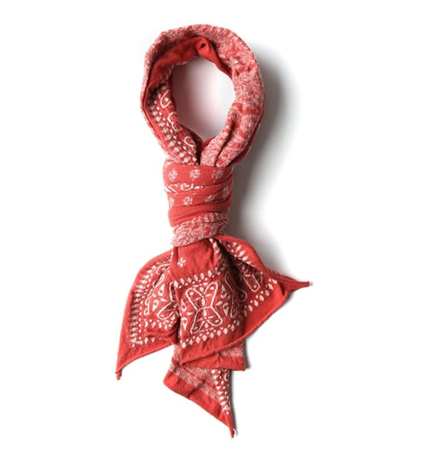 Compressed Cotton Wool Scarf Dragon Fly RED