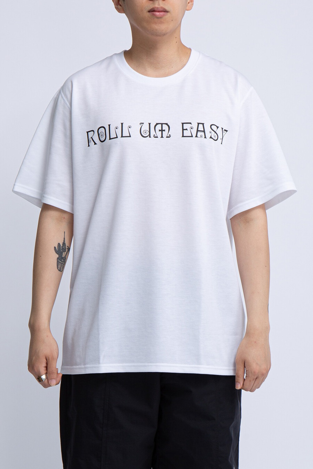 CREW NECK TEE ROLL UM EASY WHITE