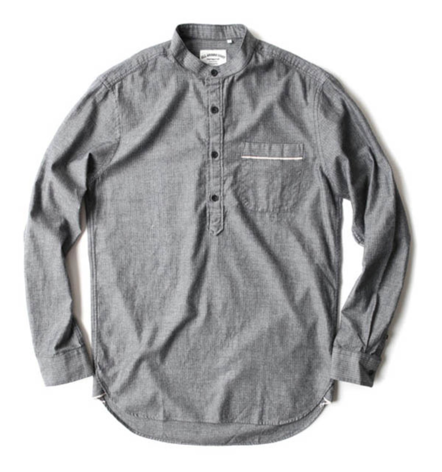 DE04-01 HERRINGBONE RED SELVEDGE PULLOVER SHIRT (DARK GREY)