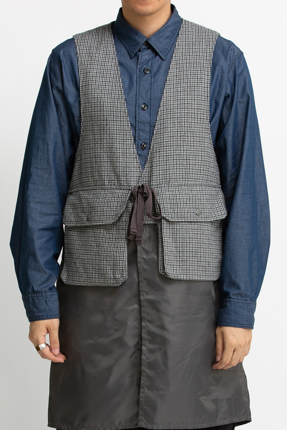 LONG FOWL VEST GREY WOOL POLY GUNCLUB