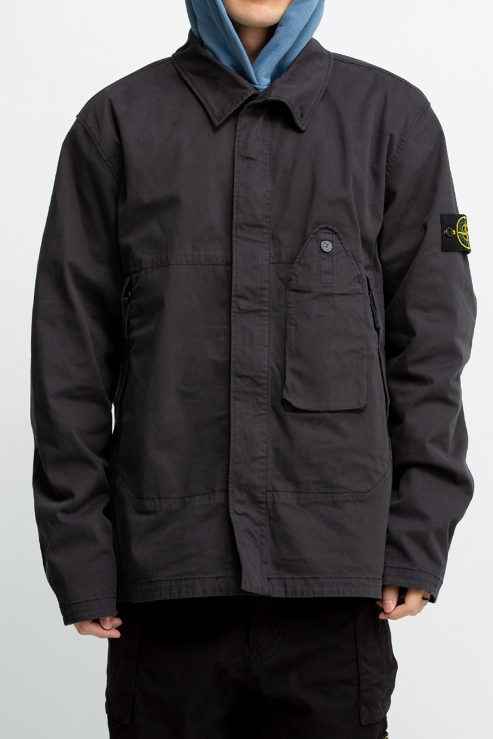 STRETCH GABARDINE OVERSHIRT CHARCOAL