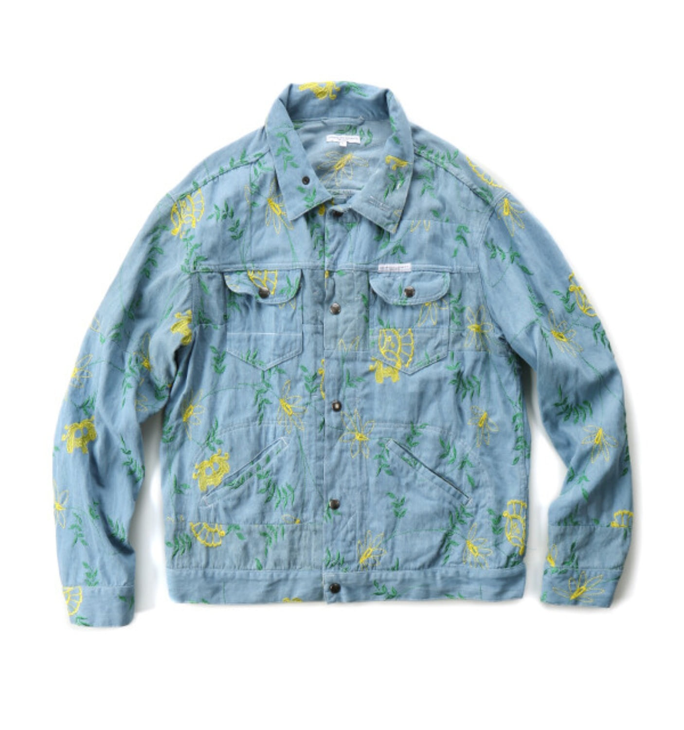 TRUCKER JKT LT.BLUE DENIM FLORAL EMBROIDERY