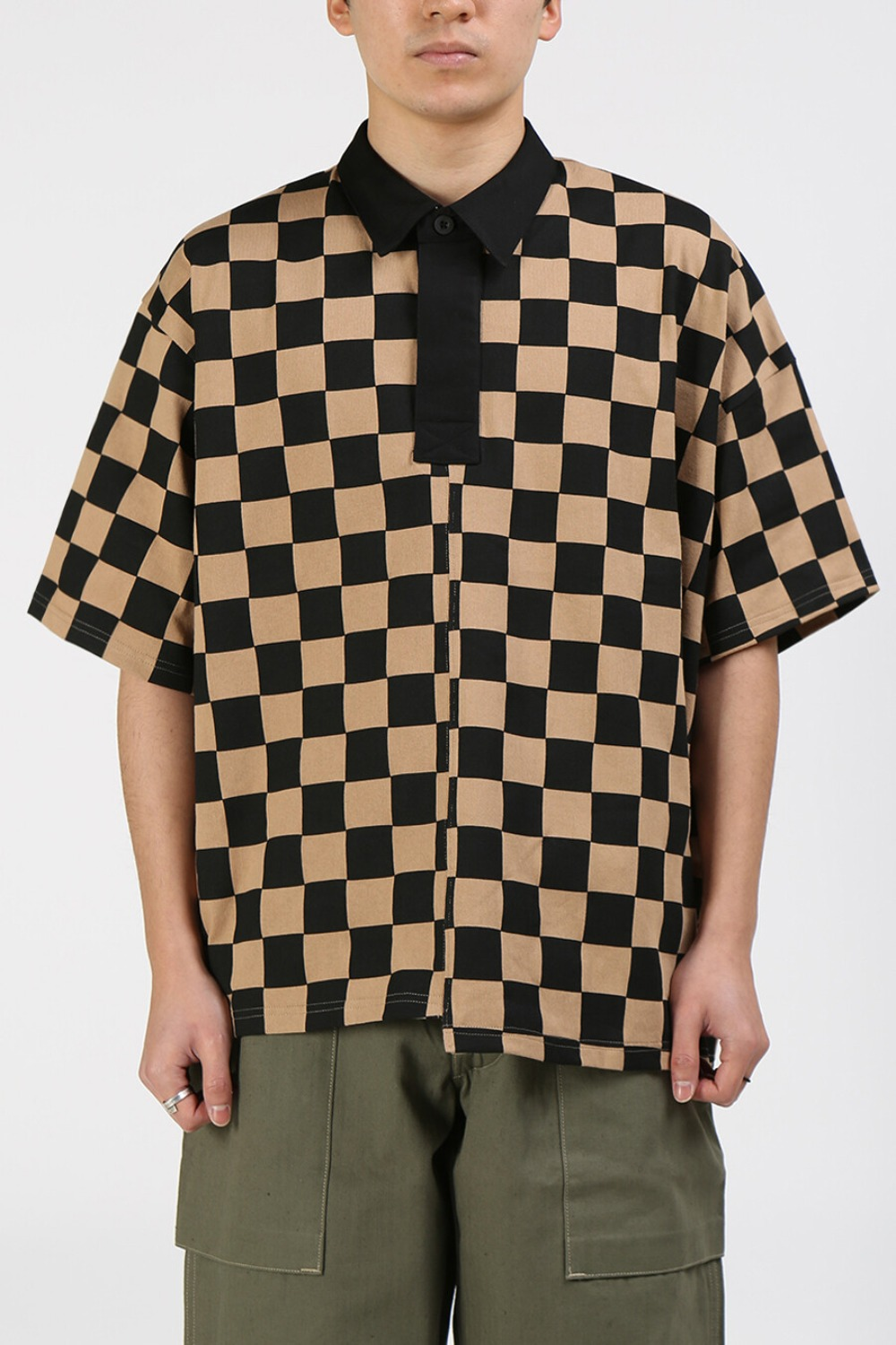 CHECKERED RUGBY SHIRT CAMEL