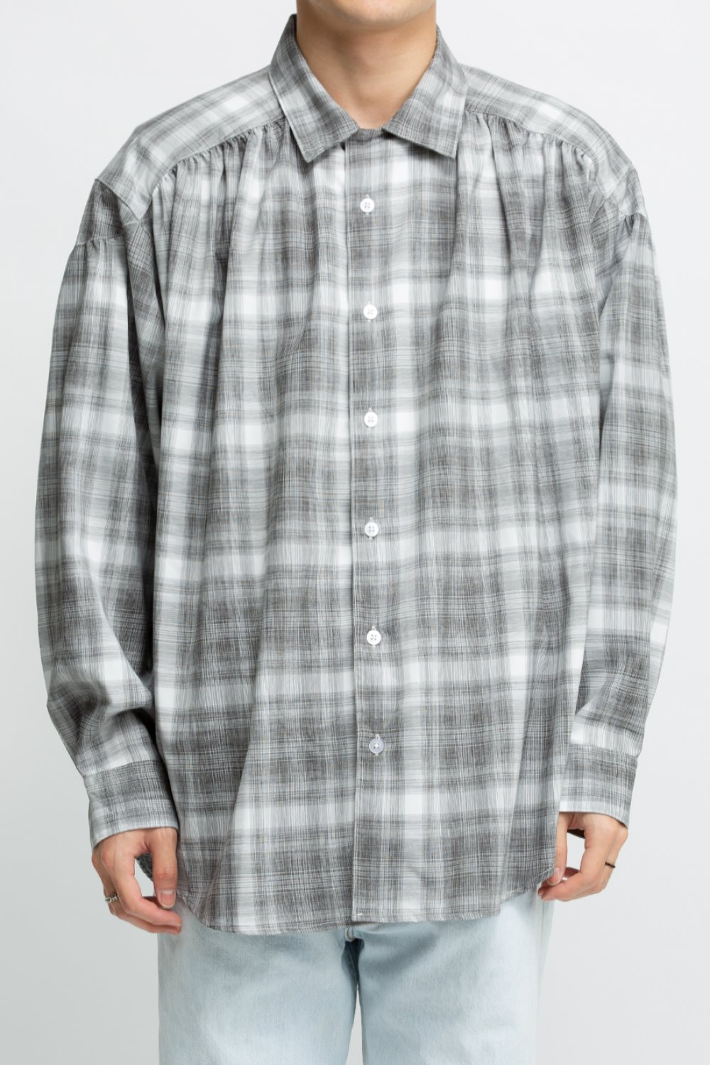 PAINTER SHIRT BLACK WHITE POLYESTER SHADOW PLAID