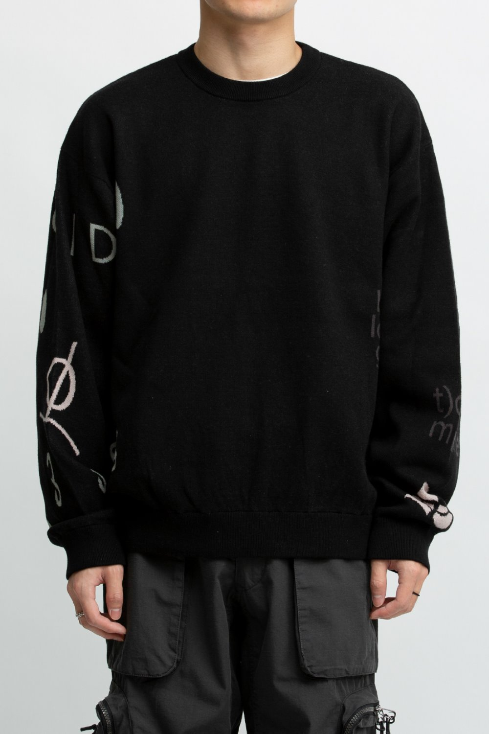 JACQUARD COTTON CREWNECK SWEATER BLACK