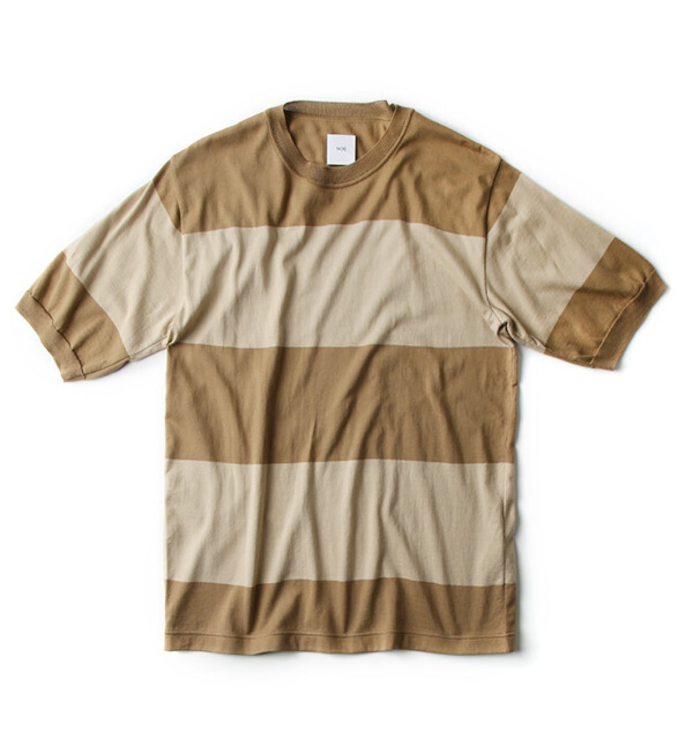 RIBBED SHORT SLEEVE T-SHIRT BEIGE(VT38XK01)