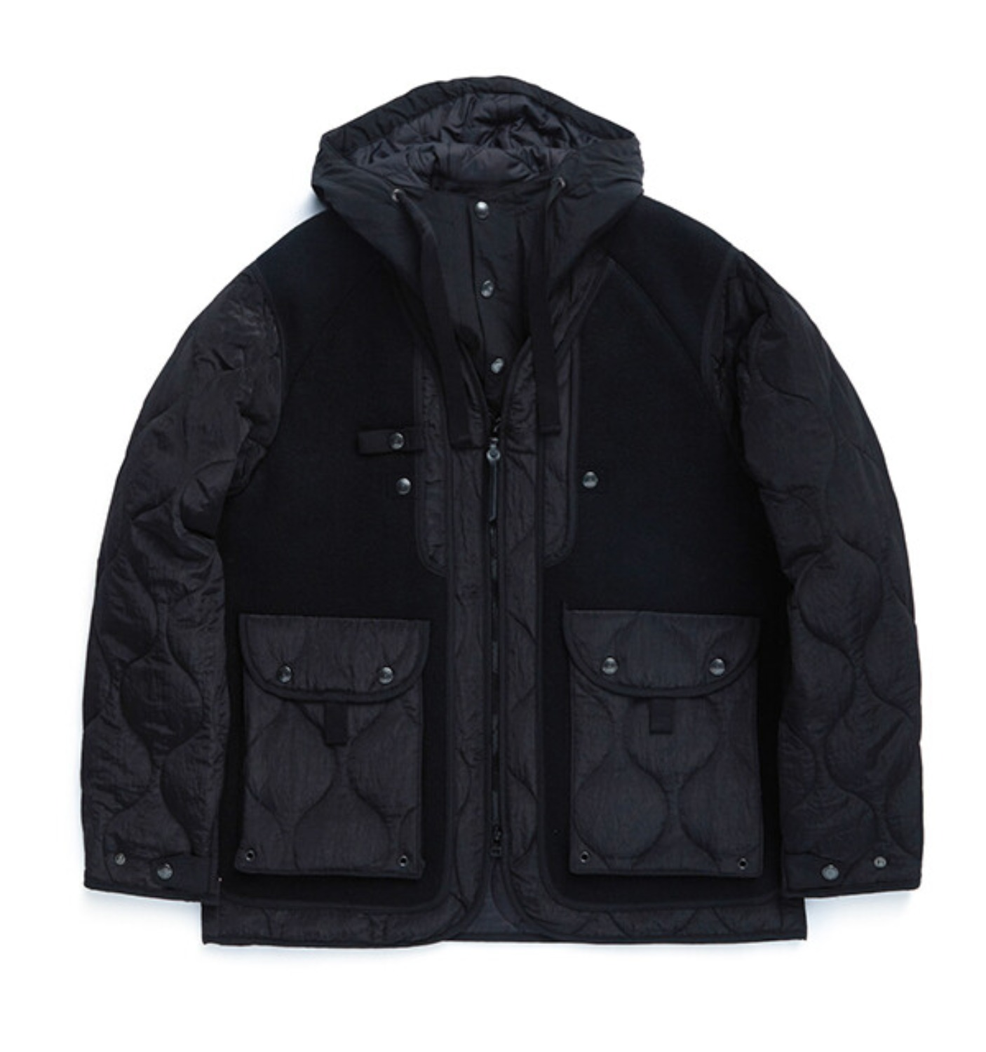SHERPA PARKA BLACK HEAVY MELTON