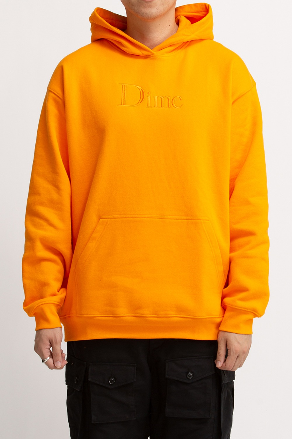 DIME CLASSIC LOGO EMBROIDERED HOODIE ORANGE