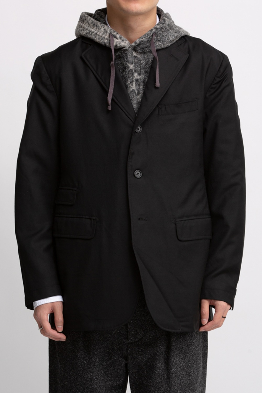 LAWRENCE JACKET BLACK WORSTED WOOL GABADINE