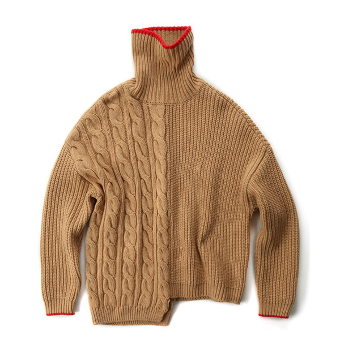 TRES UNBALANCED TURTLENECK SWEATER CAMEL+RED (MDS07KN02)