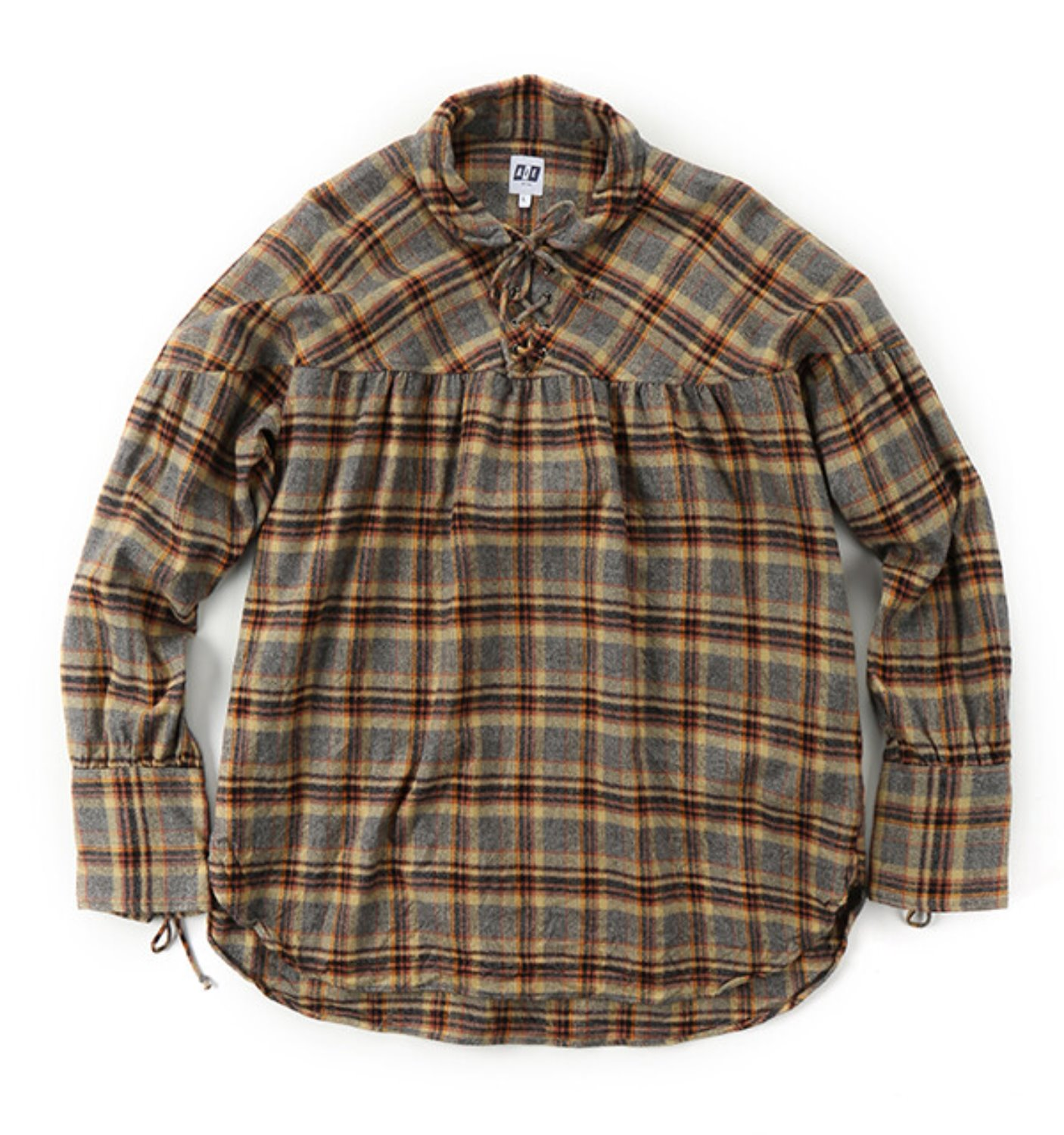 STRING SMOCK GREY KHAKI PLAID FLANNEL