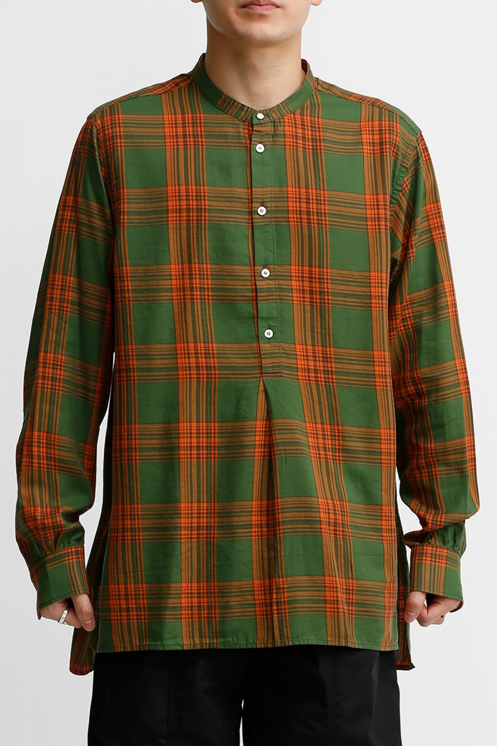 TUNIC SHIRT / GREEN & ORANGE CHECK