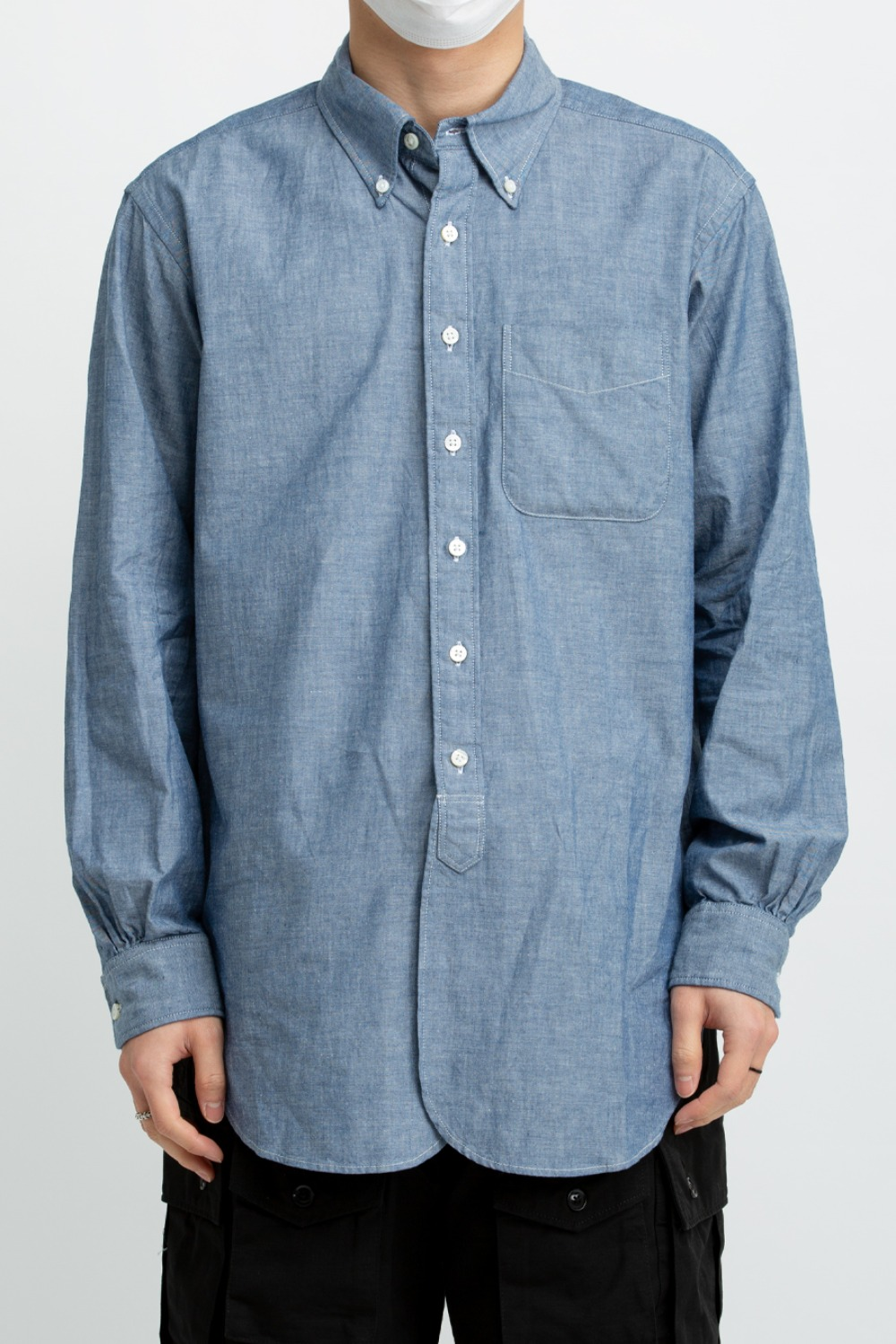 19 CENTURY BD SHIRT BLUE COTTON CHAMBRAY