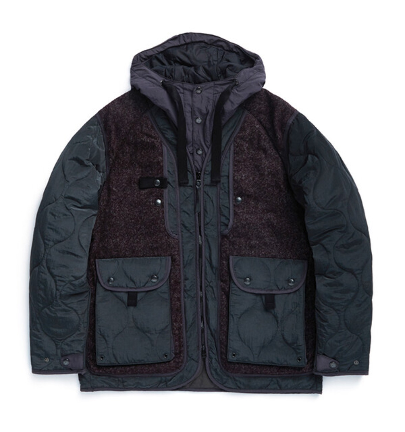 SHERPA PARKA BLACK PURPLE TOWEL