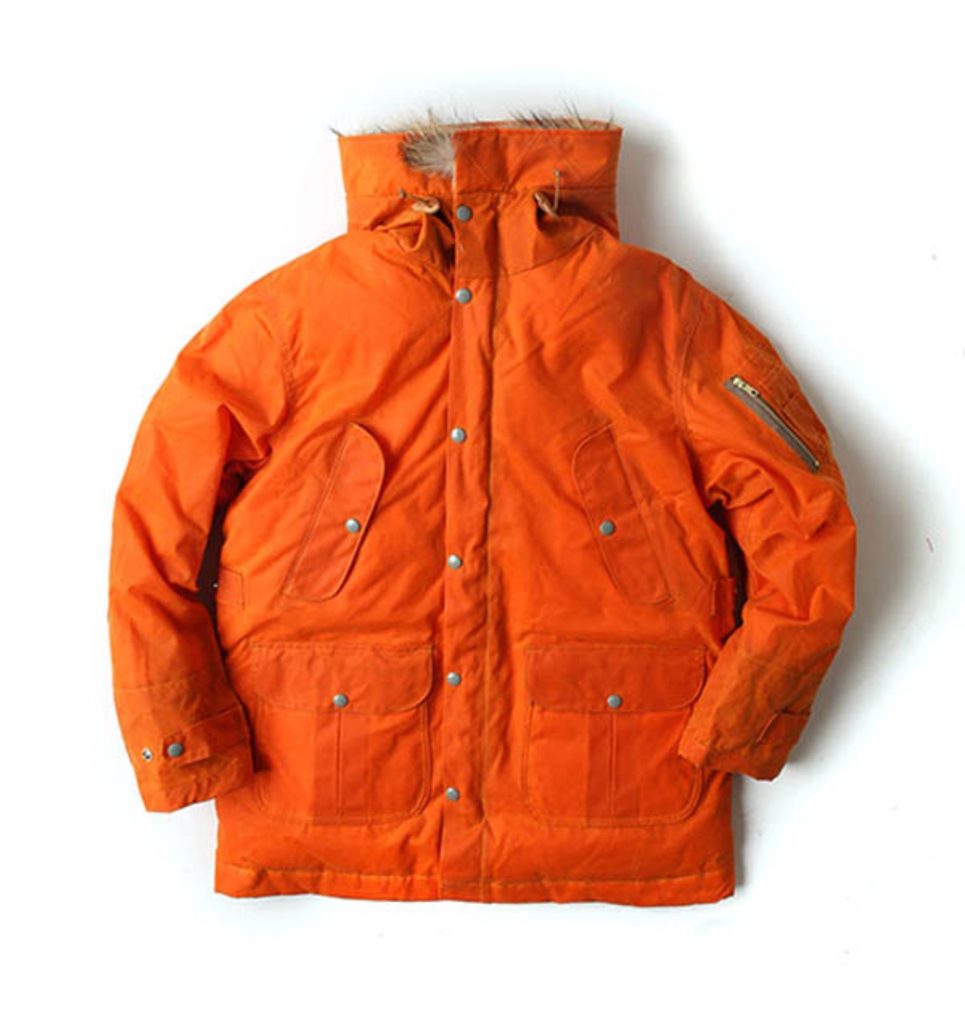 Heavy Wax Goose Down Parka Orange Ladies by ITALY(8002W-BX)