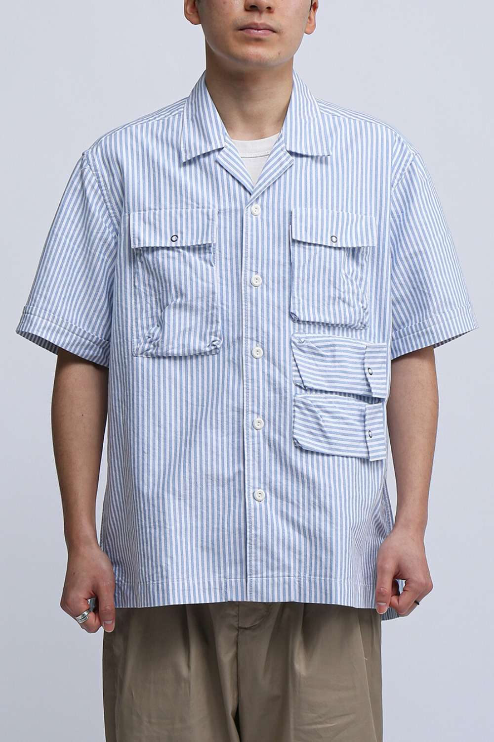 UTILITY FIELD HALF SHIRT BLUE STRIPE OXFORD