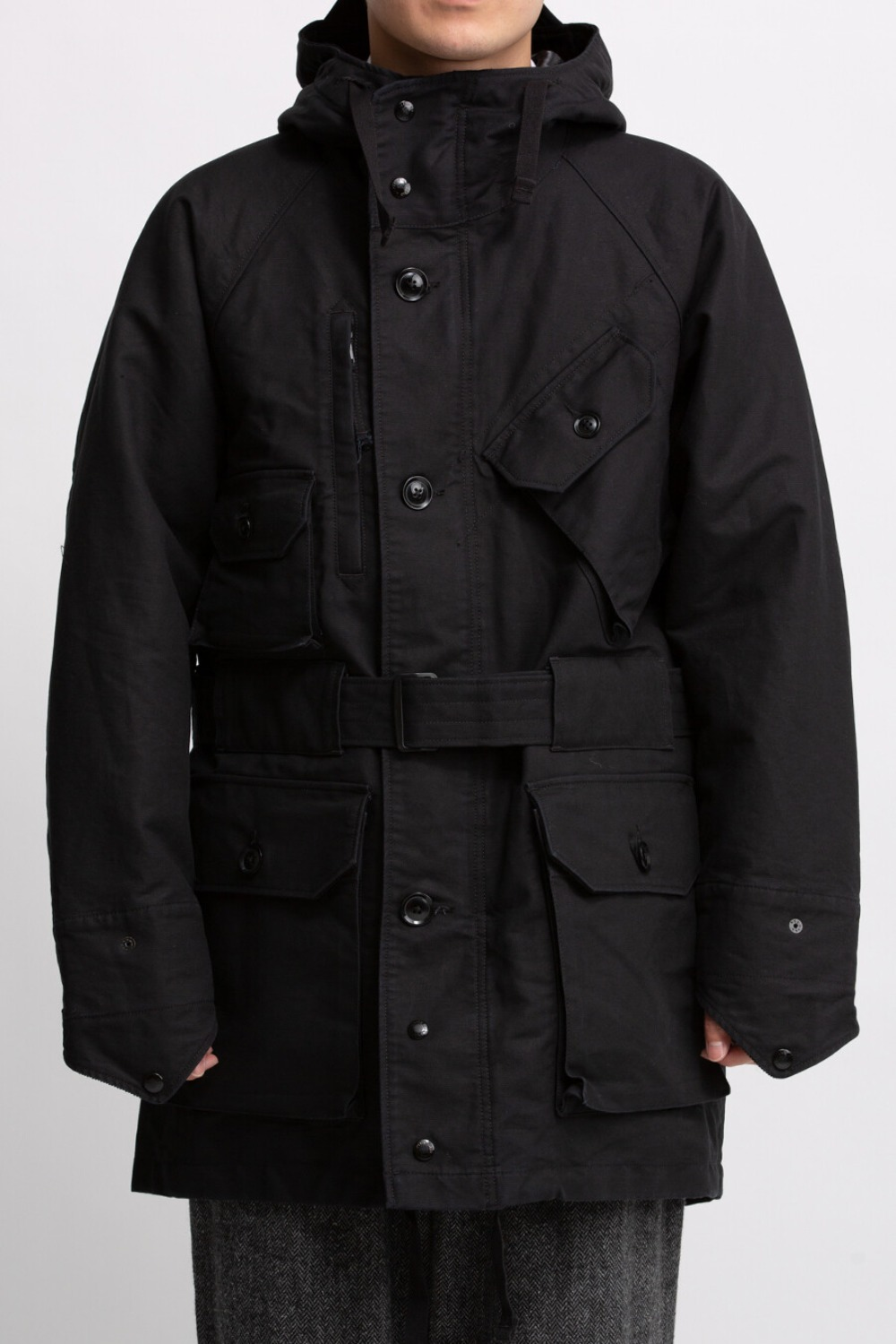 FIELD PARKA BLACK COTTON DOUBLE CLOTH