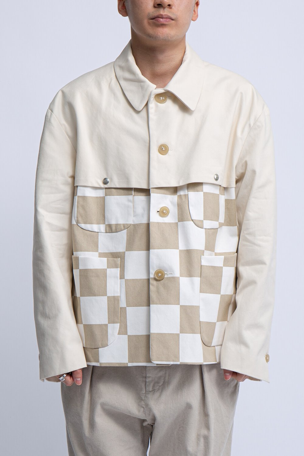 THT JACKET BEIGE NATURAL 9oz CHECKER