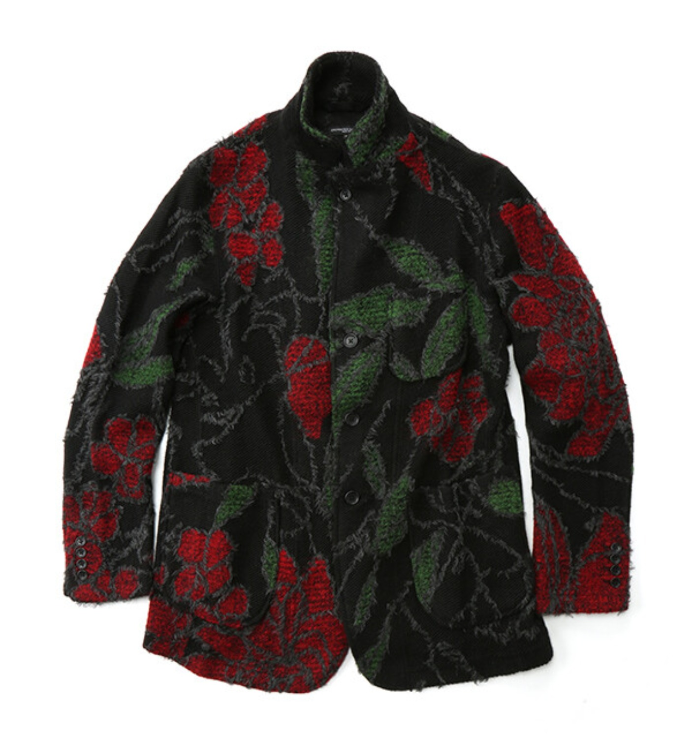KNIT JACKET BLACK/RED ACRYLIC WOOL FLORAL KNIT JACQUARD