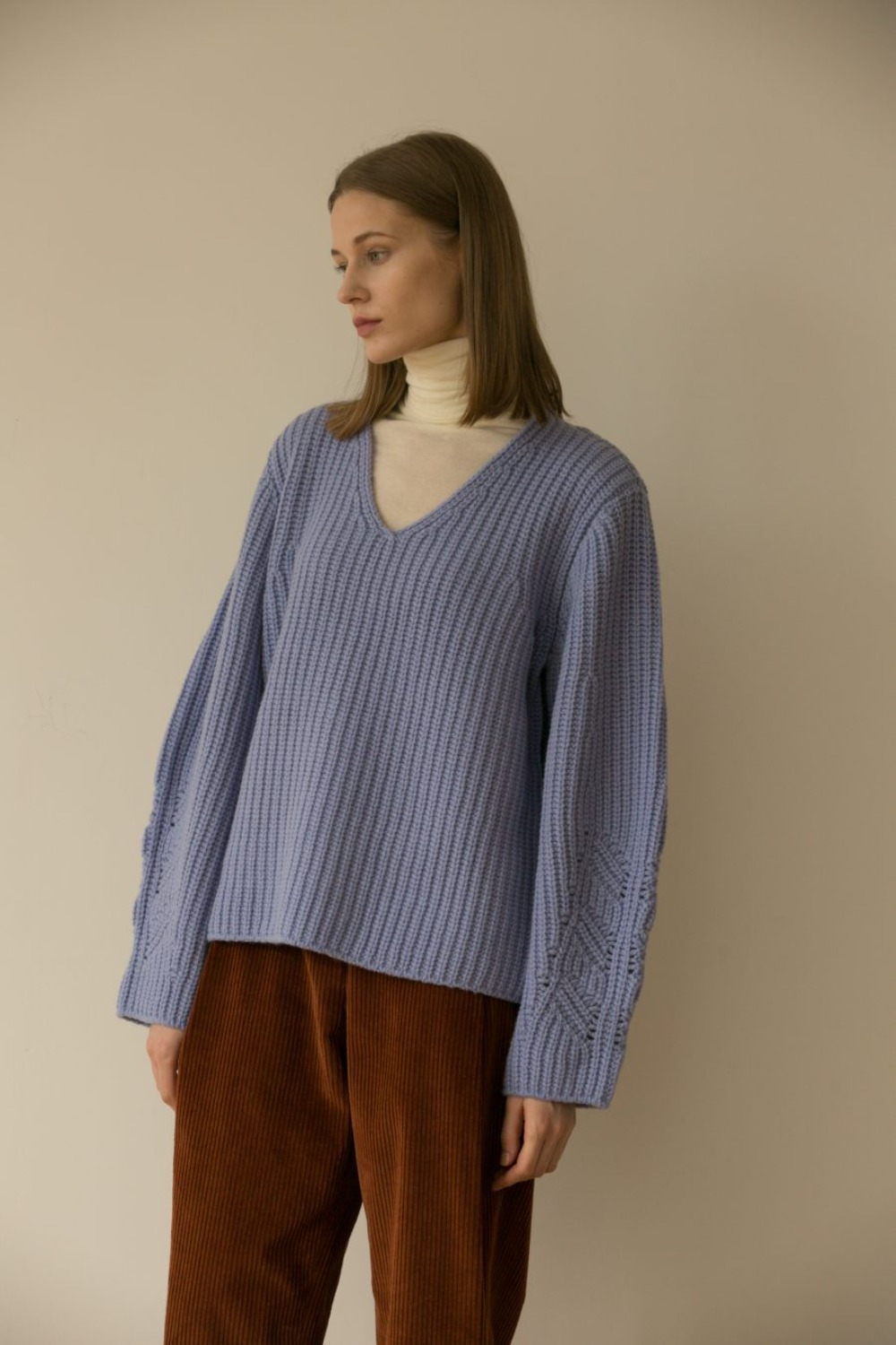 MUSED CHUNKY WOOL KNIT BABY BLUE