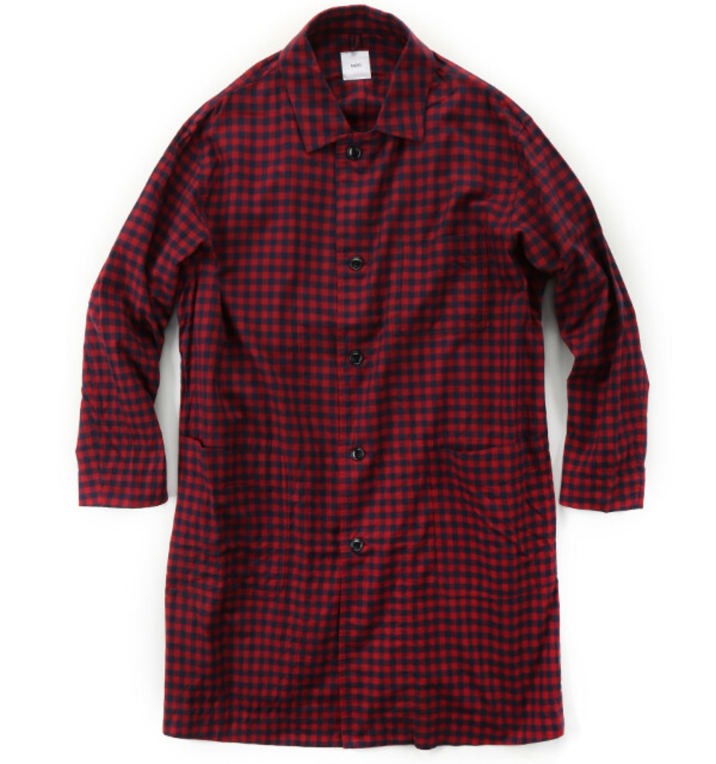 Double-sided Brushed Block Plaid Cotton Cloth Shirt Coat Red