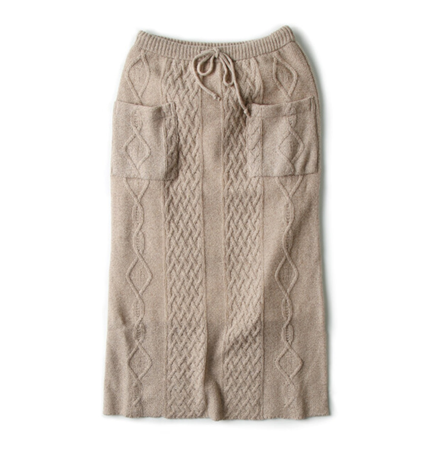 5G CABLE KNIT SKIRT BEIGE