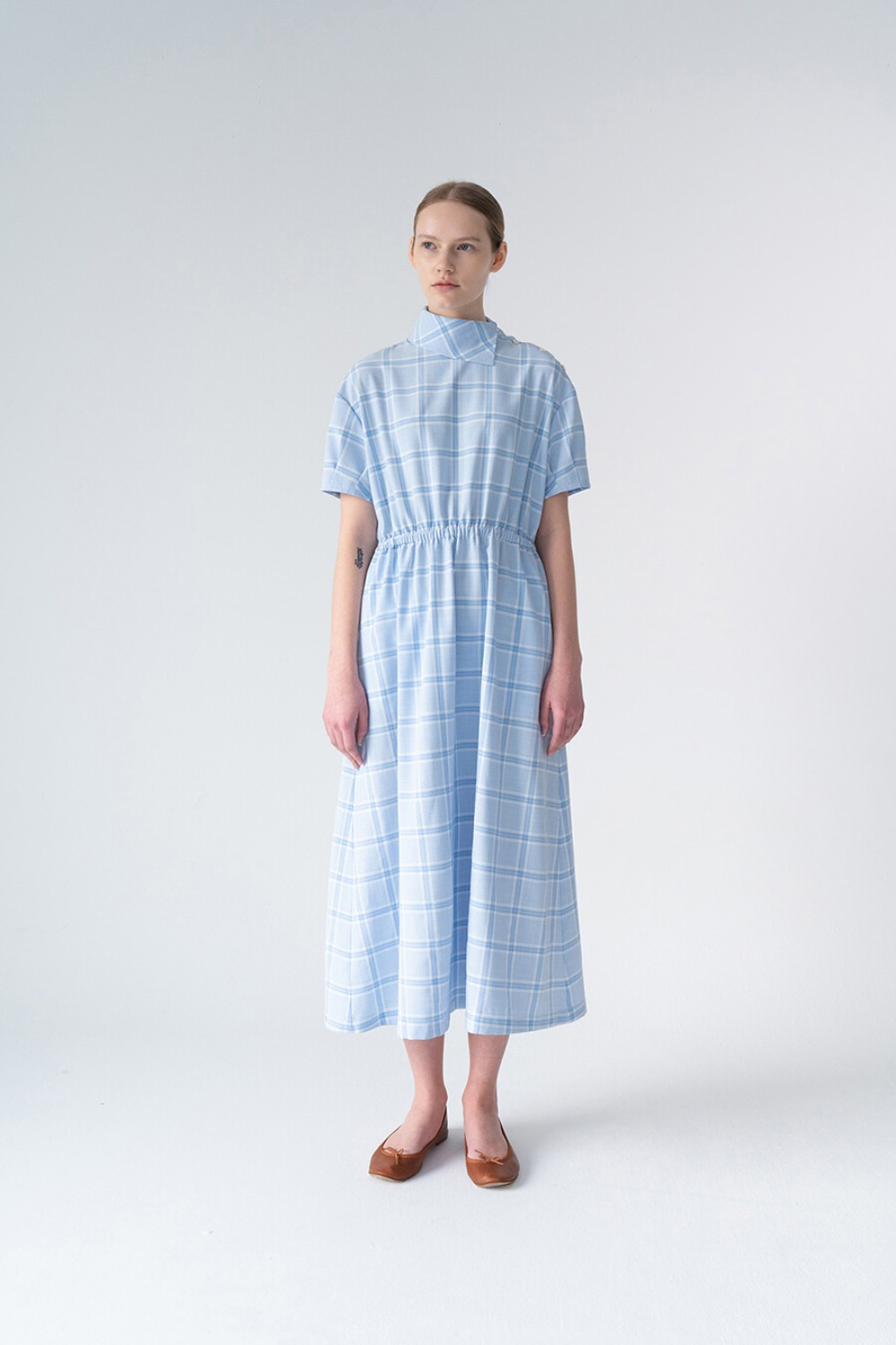 VINTAGE MOCKNECK DRESS-BLUE CHECK