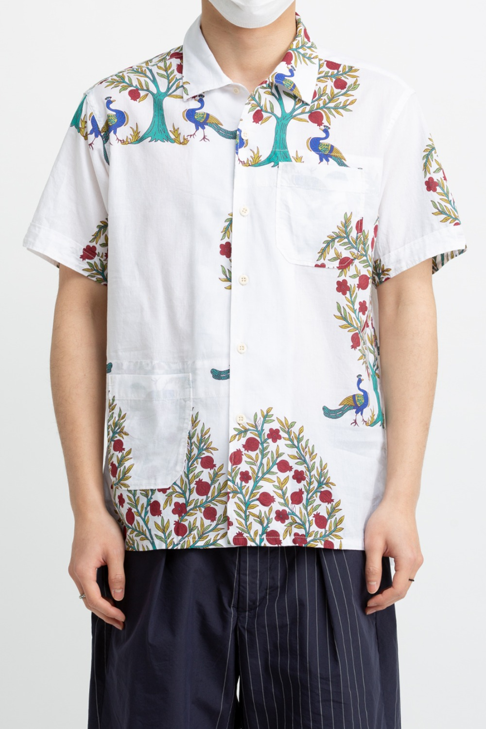 CAMP SHIRT NATURAL COTTON LAWN PEACOCK PRINT