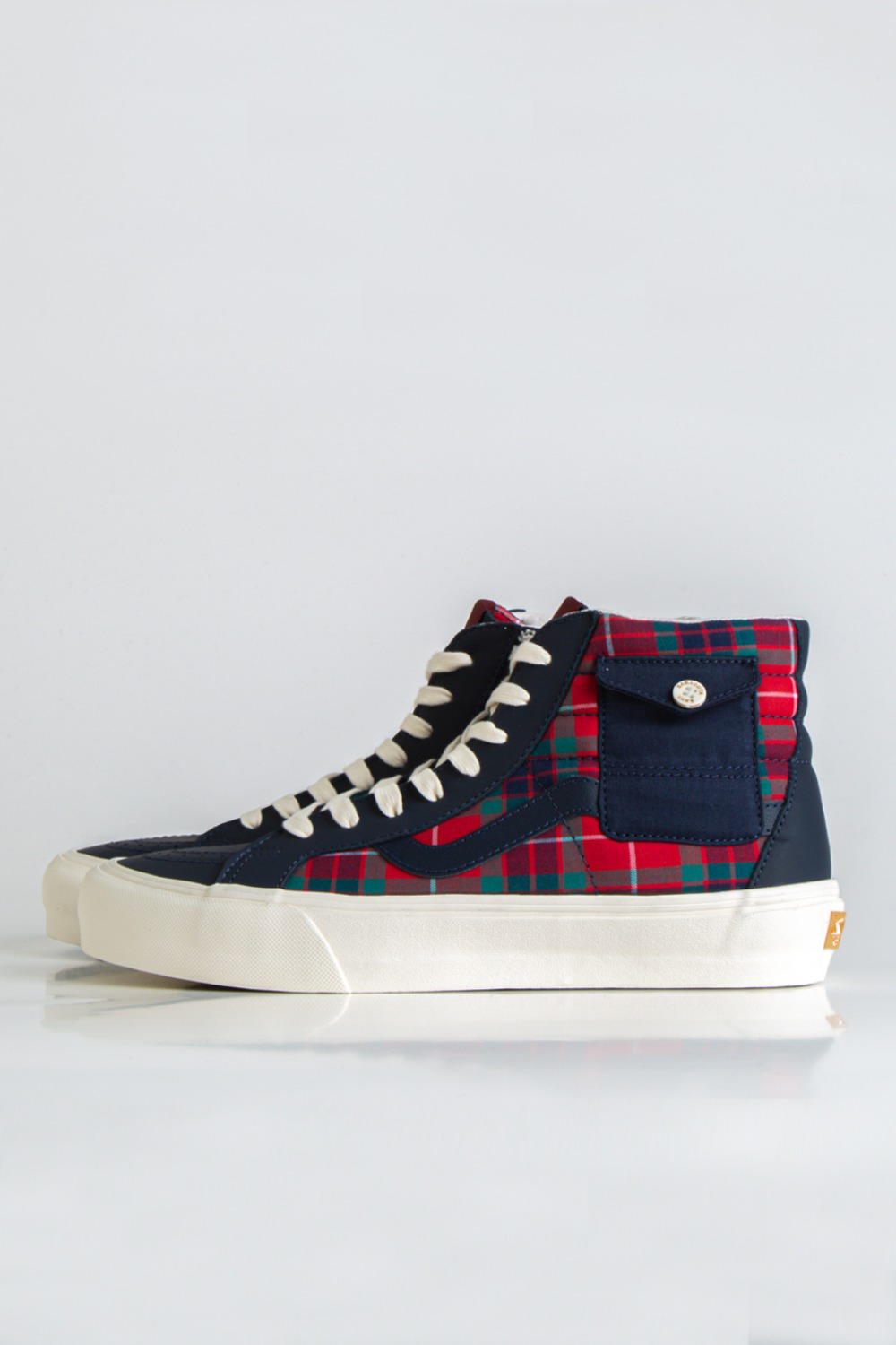 SK8-HI POCKET VLT LX(BARACUTA) DRESS BLUES/TARTAN PLAID/MARSHMALLOW