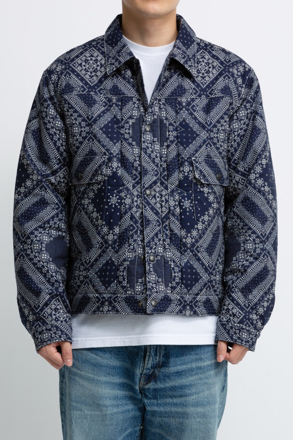 (SCULP EXCLUSIVE) PADDED TRUCKER JACKET PAISLEY NAVY