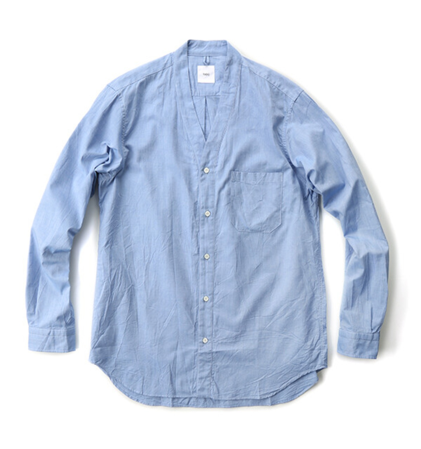 CARDIGAN SHIRT COTTON OXFORD BLUE