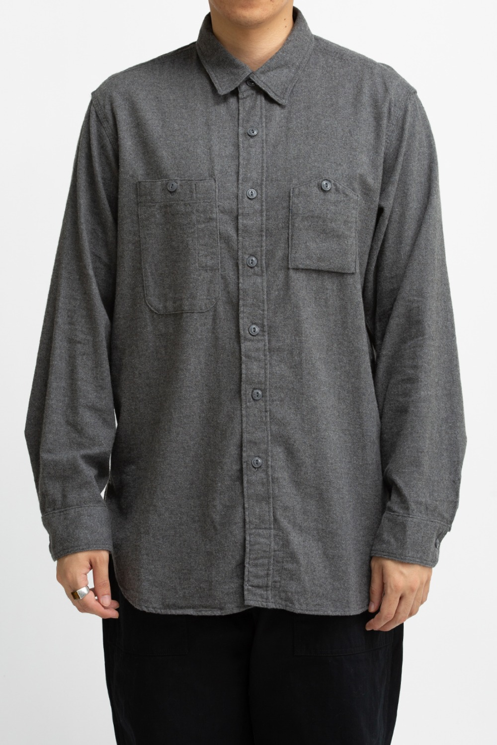 WORK SHIRT DARK GREY BRUSHED COTTON