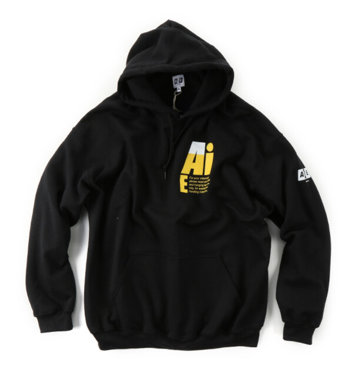 SMALL AiE LOGO PRINTED HOODY BLACK