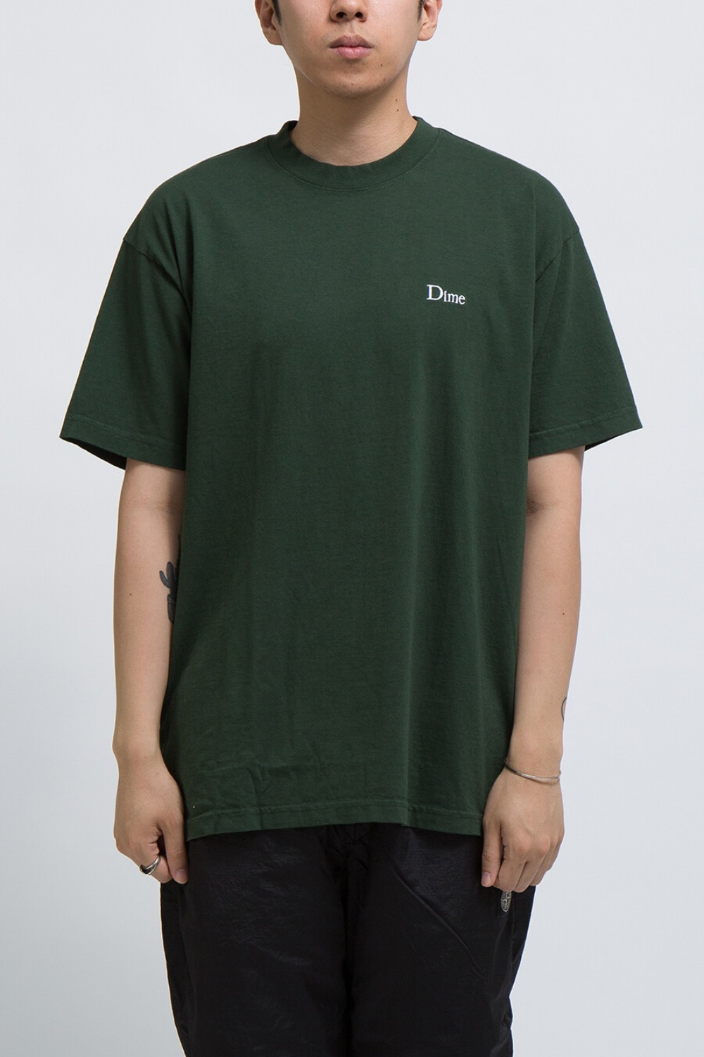 DIME CLASSIC EMBROIDERED T-SHIRT OLIVE