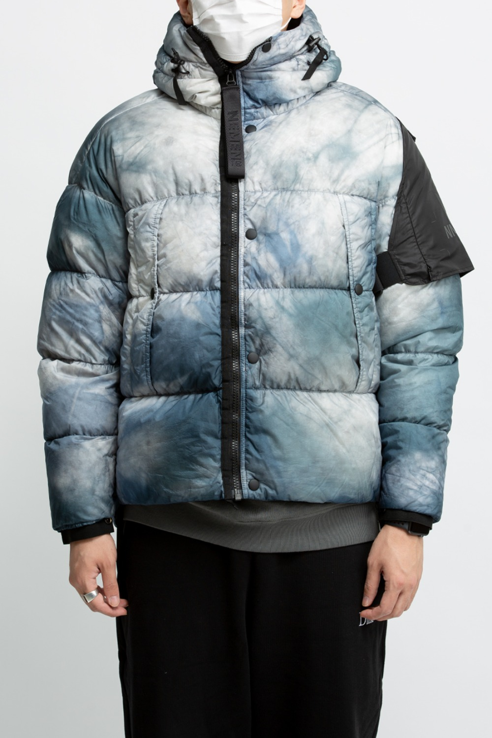 WOVEN TAWA TIE DYE DOWN JACKET ICE GREY
