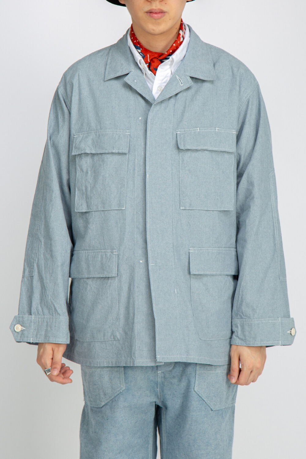 BDU JACKET UPCYCLED CHAMBRAY BLUE