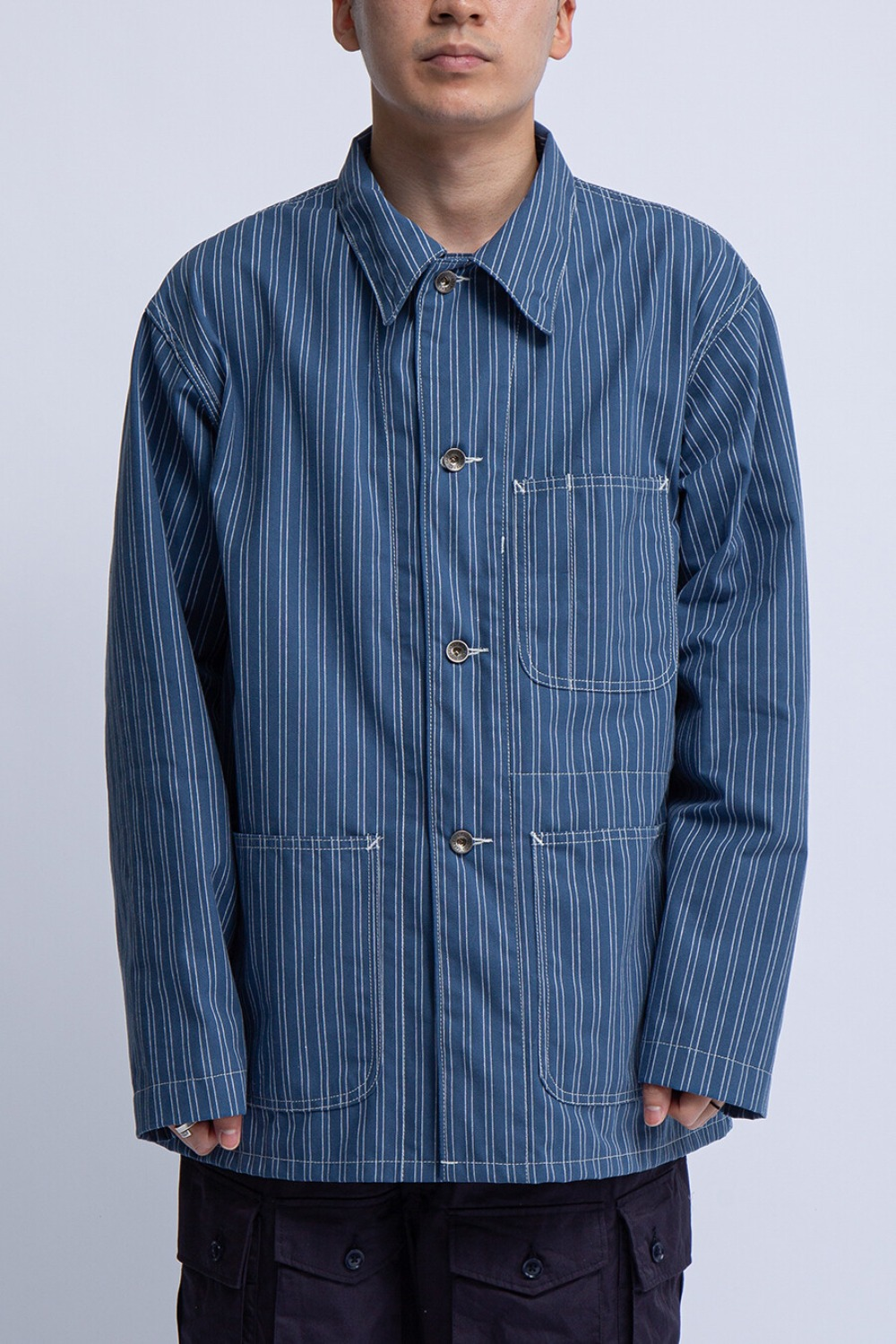 UTILITY JACKET BLUE WHITE WORKERS STRIPE