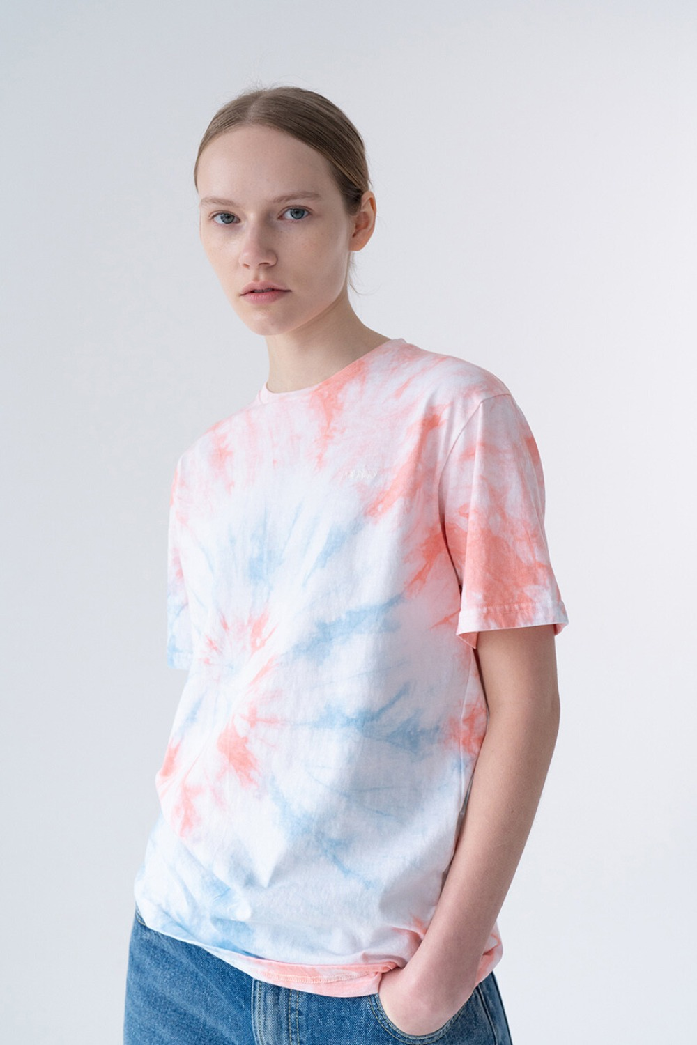 HAND TIE-DYE T-SHIRT WHITE+ MIXED