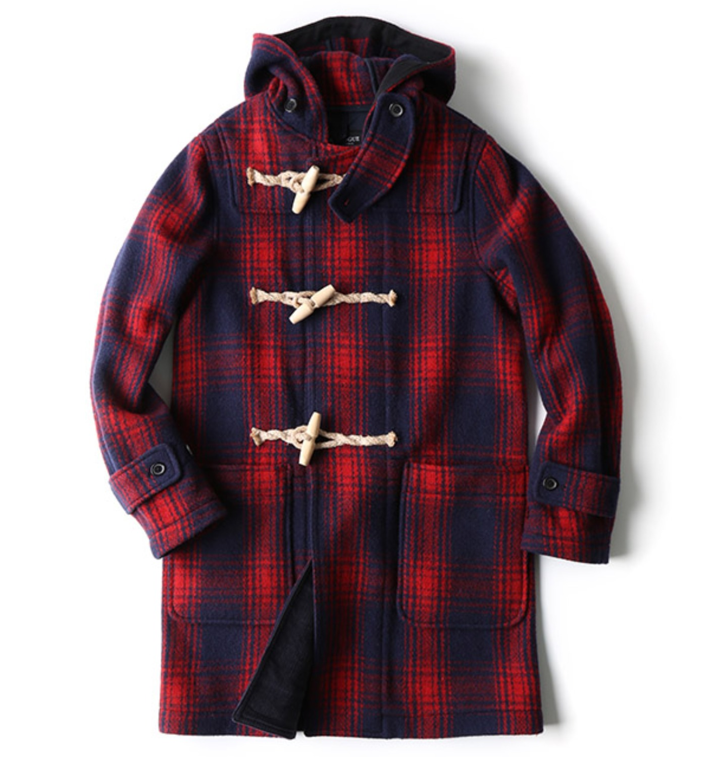 EASTLOGUE X SCULP DUFFLE COAT IN RED CHECK